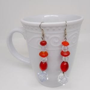 Red and clear beaded earrings